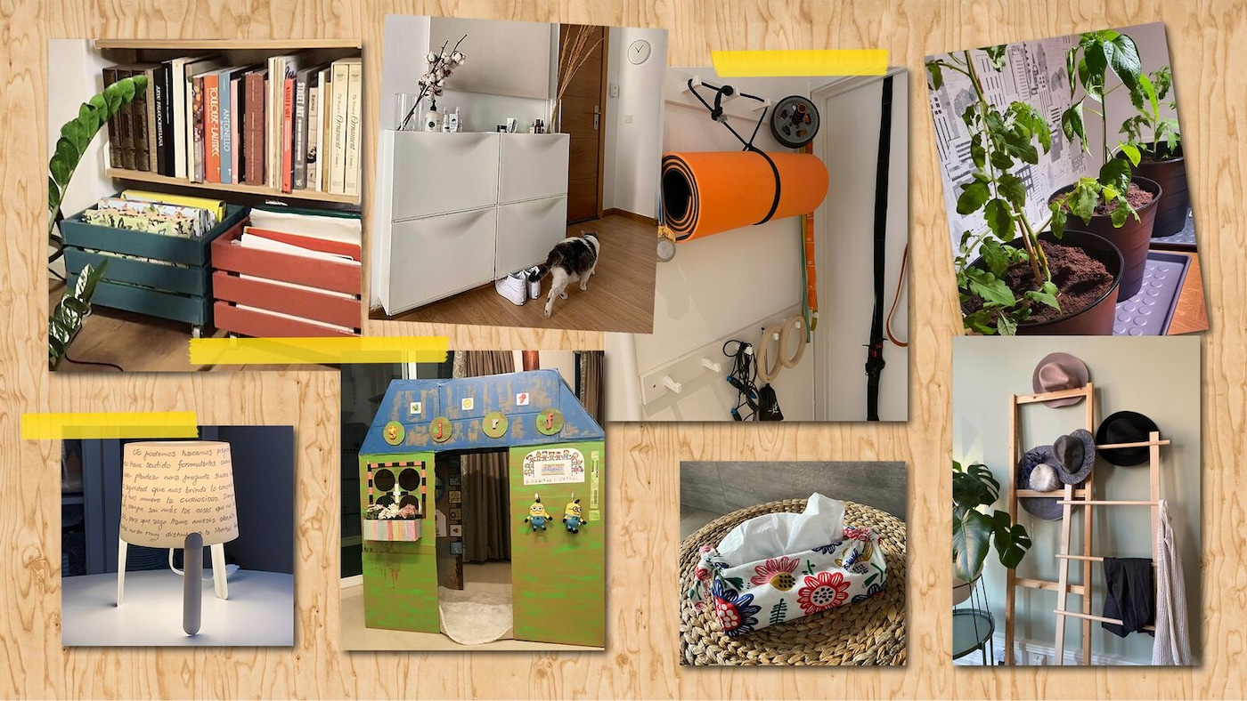 由八张照片组成的拼图,展示了来自宜家员工的各种居家储物、装饰和娱乐方案。
