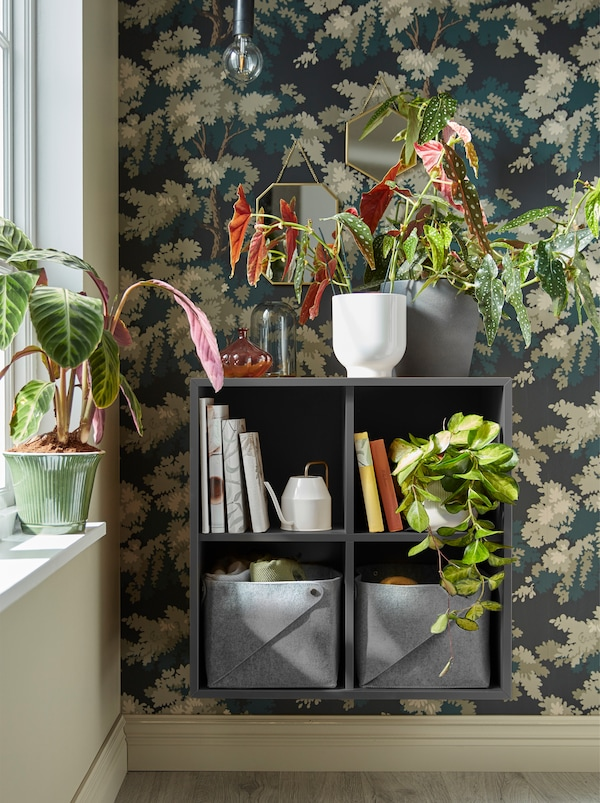 A dark grey EKET shelf unit mounted on the wall next to a window with plants on top of it and inside it, together with books.
