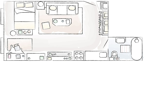 A floorplan of Dria's compact home.