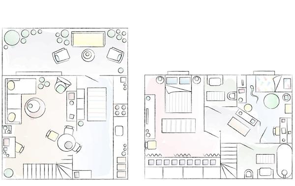 A floorplan of Mercedes' home