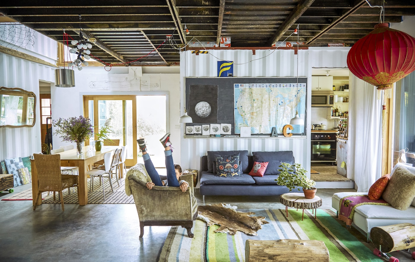 A living room inside a shipping container.