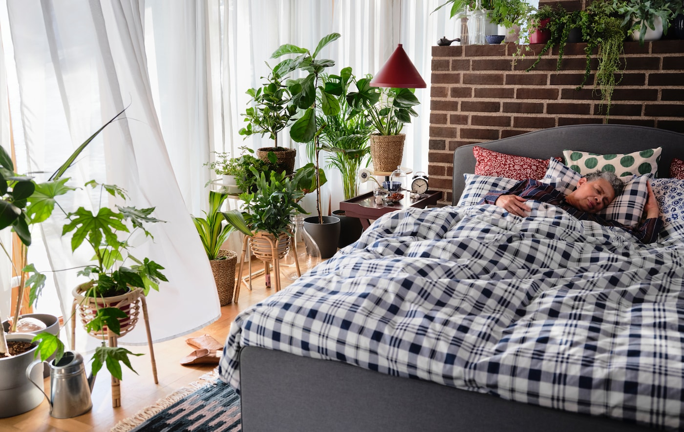 A woman sleeps in an upholstered HAUGA bed with a checked duvet cover and surrounded by green plants.