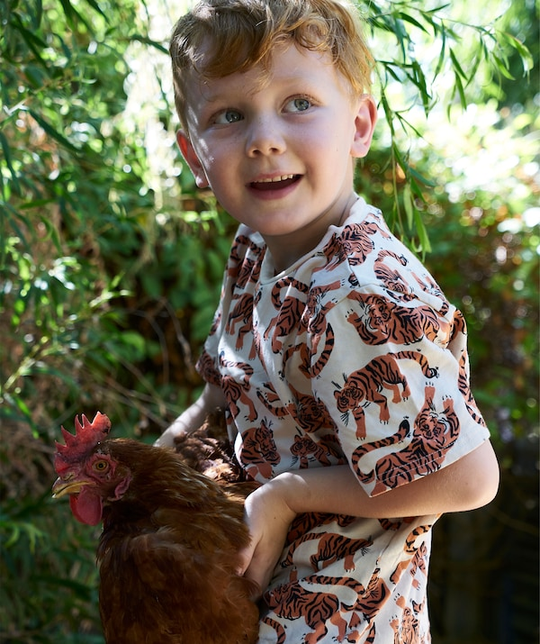 A young child holds a chicken.