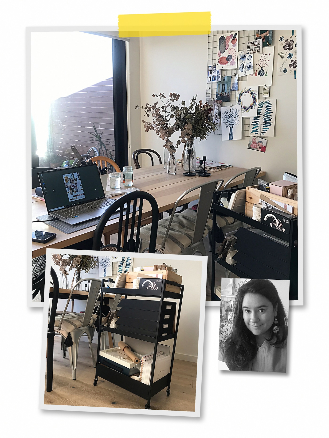 A three-image collage: an ad-hoc dinner-table workspace with a black NISSAFORS trolley, and an image of an IKEA co-worker.
