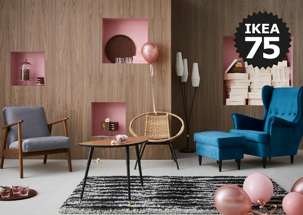 Add a touch of retro to your home with EKENÄSET armchair from the GRATULERA vintage collection. Celebrating seventy-five years of IKEA design.