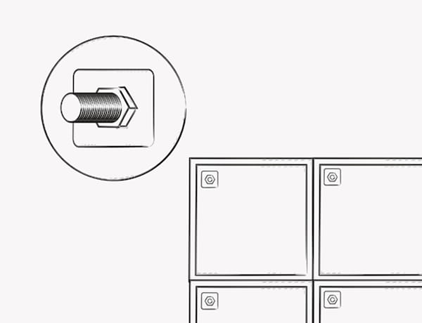 An illustration shows where to screw cabinets together to form the base of the island.