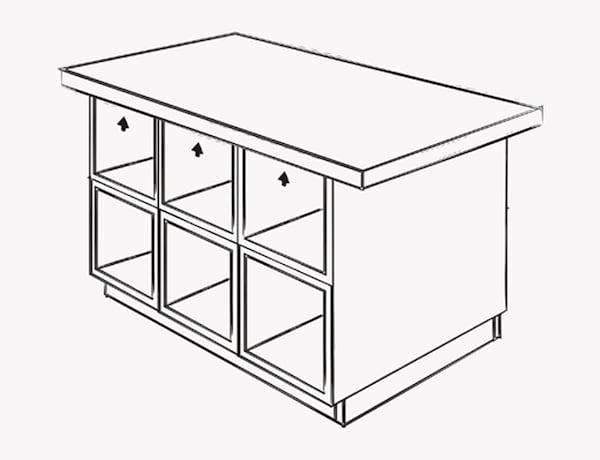 An illustration shows where to screw the base of the island to the tabletop.