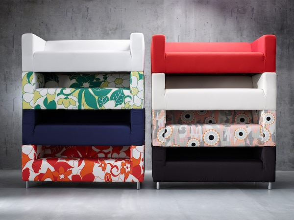 As many of our sofas, IKEA KLIPPAN has extra covers, so that, when you get tired of one pattern, there's no need to buy a new sofa – just change the cover. In this way, you produce less bulky waste and get a whole new look.