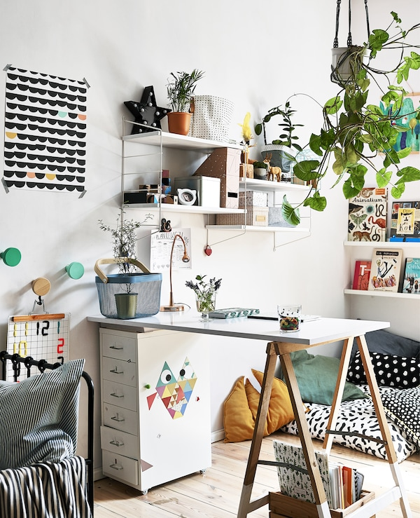 摆放着垂吊植物、搁板和艺术品的书桌区。