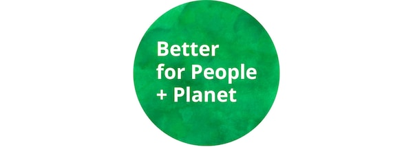 Better for people and planet green logo.