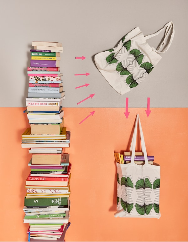 Books being packed into a fabric bag