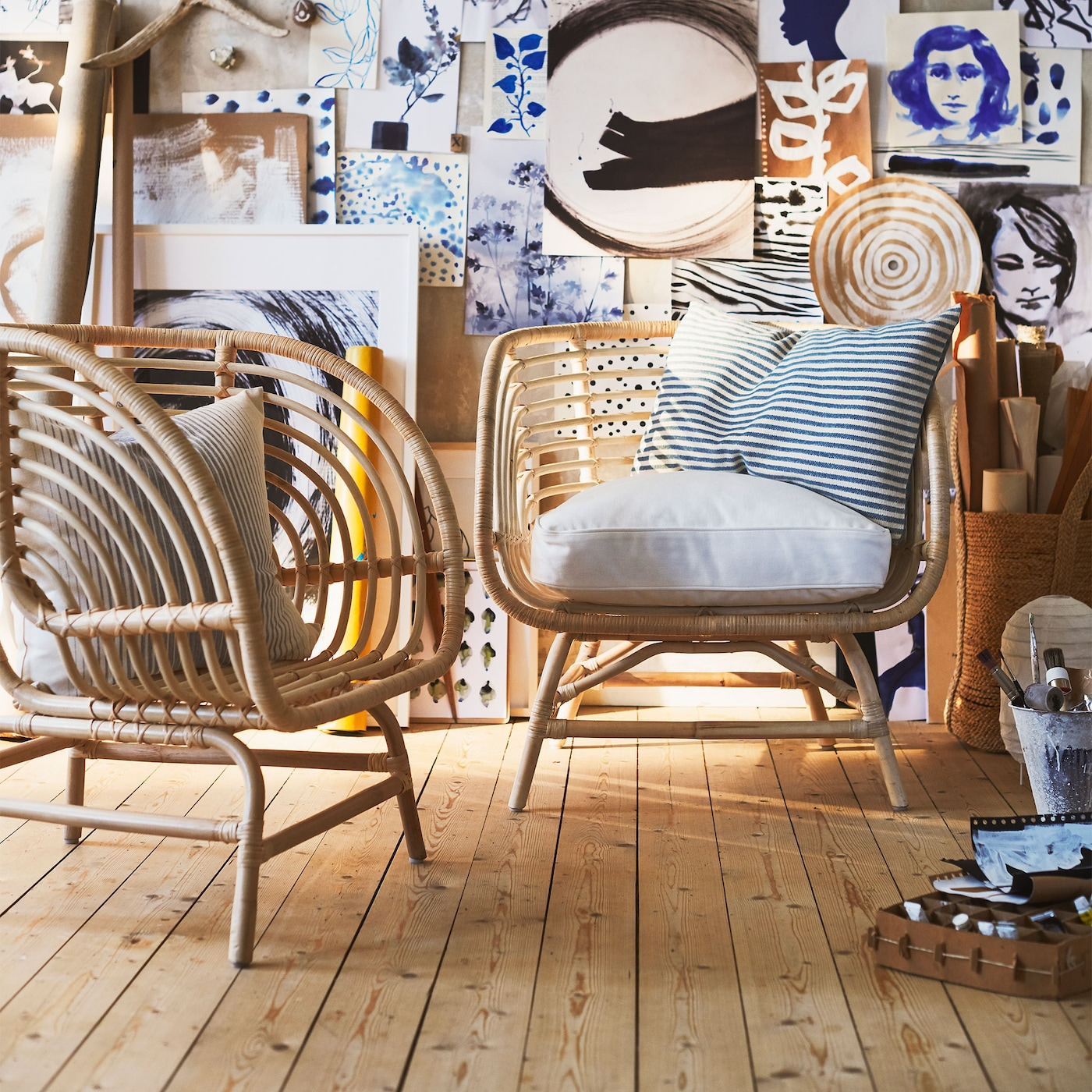 BUSKBO armchair is handwoven from rattan and has a bucket style seat with four wide, low legs for a natural, eclectic look.