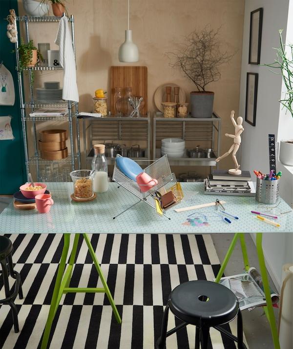 采用玻璃桌面的厨房桌子,中间设有滤干架作为隔板,一边用于吃饭,另一边用来开展创意工作。
