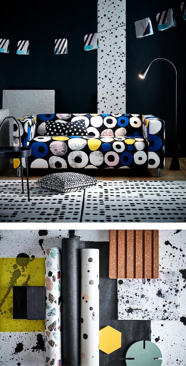 采用春季印花元素,让客厅焕然一新。添置一款带趣味圆点图案的现代家具,比如我们的 KLIPPAN 克利帕 新款多色双人沙发套,有黑色、蓝色、白色、黄色和粉色可供选择。