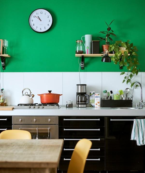厨房里放着高光泽黑色底柜,绿色墙壁配有白色防溅挡板和搁架,搁架上放着植物、罐子和黑色夹式灯。