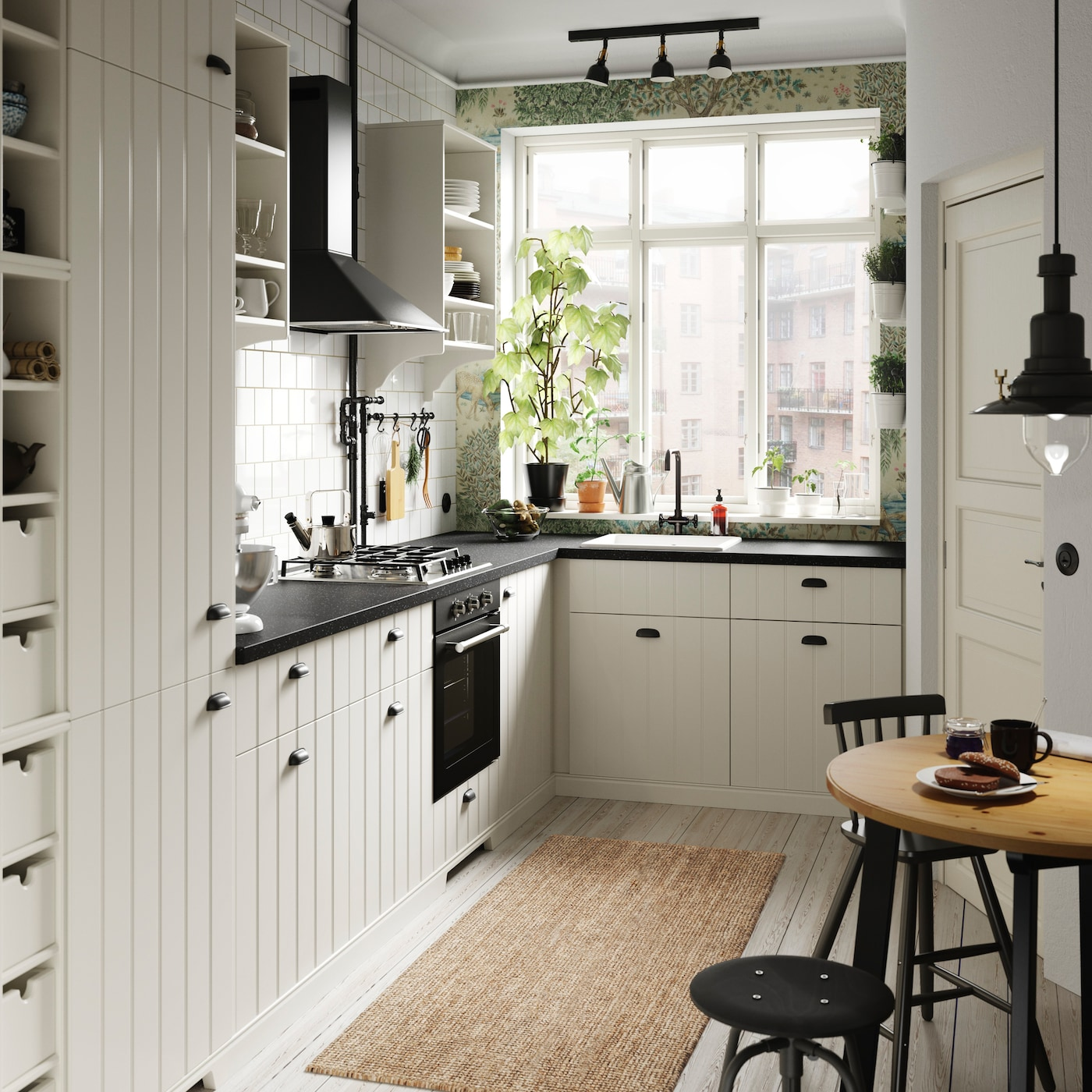 Create a cosy small kitchen or kitchenette with IKEA METOD HITTARP white paneled door fronts and TORNVIKEN off-white open storage shelves and wine racks.