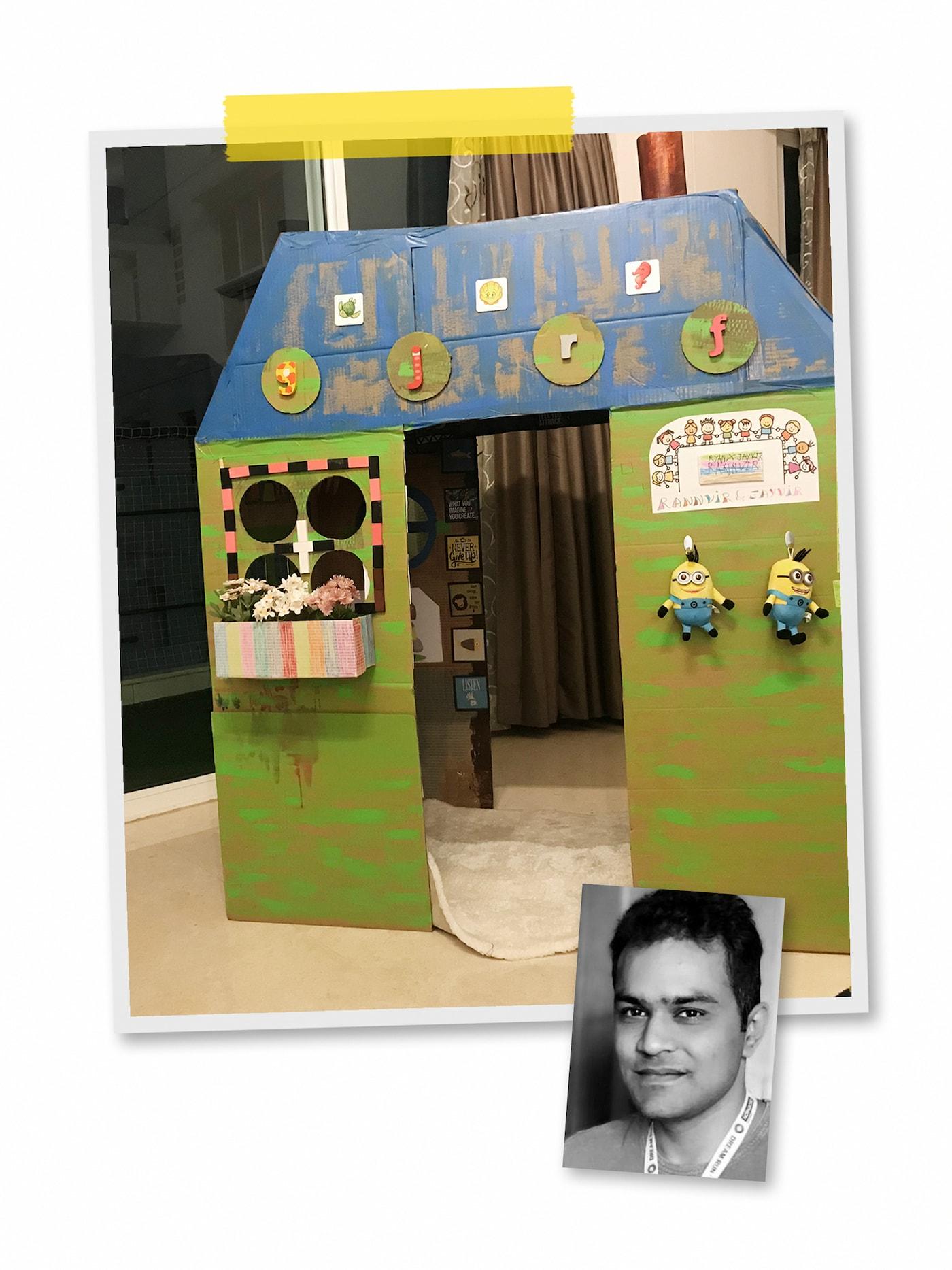 两幅照片组成的拼图:一间用手绘卡纸做成的游戏屋,里面放着一块地毯,外面挂着毛绒玩具,以及一位宜家员工的人像写真。