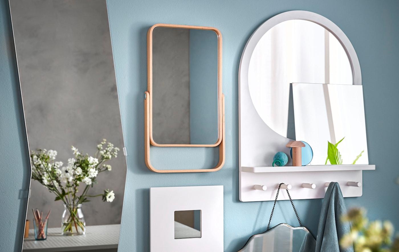 打造个人镜子拼贴墙!试试宜家 MALMA 马尔曼 白色镜子,用托架把它挂起来!