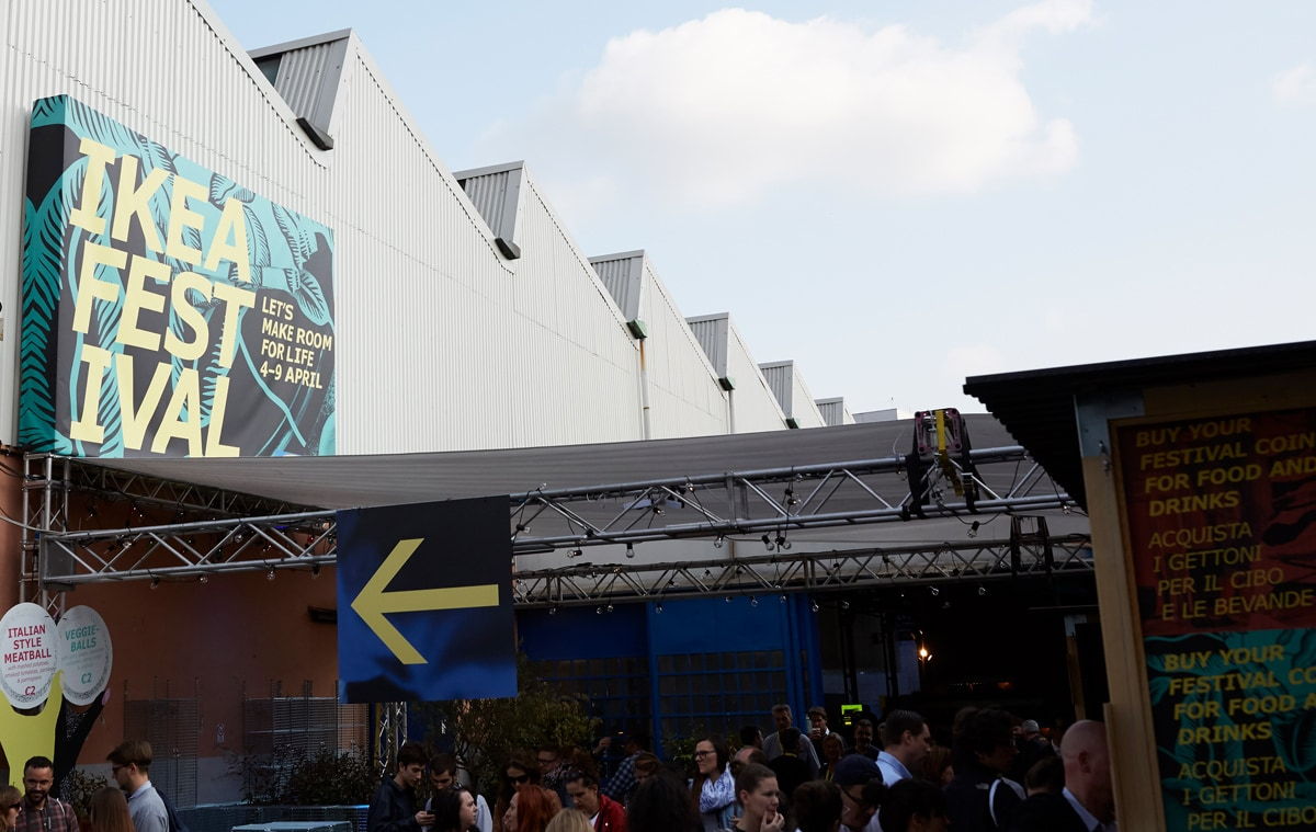 Entrance to the IKEA Festival in Milan.