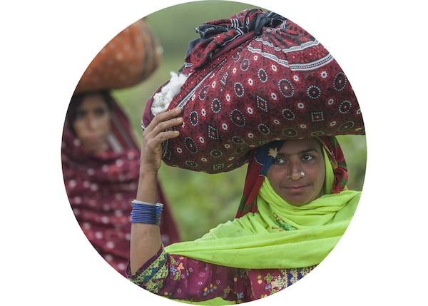 妇女头顶纺织袋,运送刚采摘下来、以负责任的方式种植的棉花。