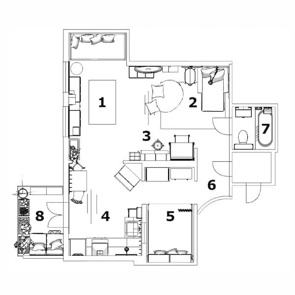 父子双人公寓平面图。