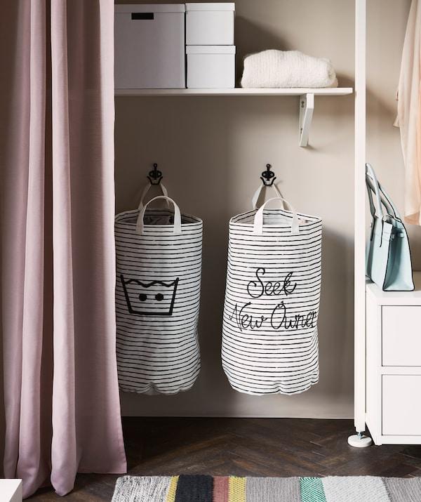 更换衣物是每天都需要做的事情。将洗衣袋放在衣柜中,就可以让这项工作更轻松。