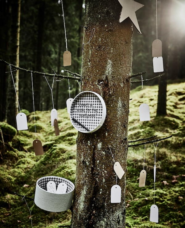 Gift tags tied onto a tree so guests can write a message and leave it in a box for wedding guest book