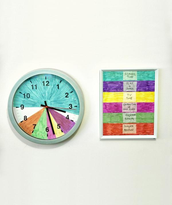 挂钟被色块分割成不同的部分,旁边是不同颜色对应的家庭活动图例。