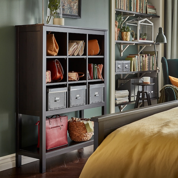HEMNES storage unit in black-brown has open shelves that offer displayed storage for bags, boxes, baskets and more.