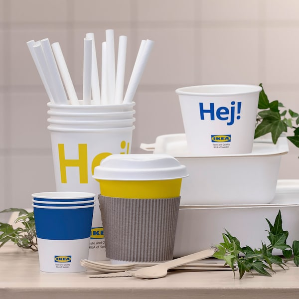 IKEA food containers, cups, straws and cutlery made from 100% renewable materials.