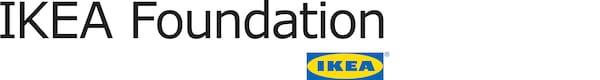 IKEA Foundation的黑色标志,旁边是宜家的蓝黄色标志。