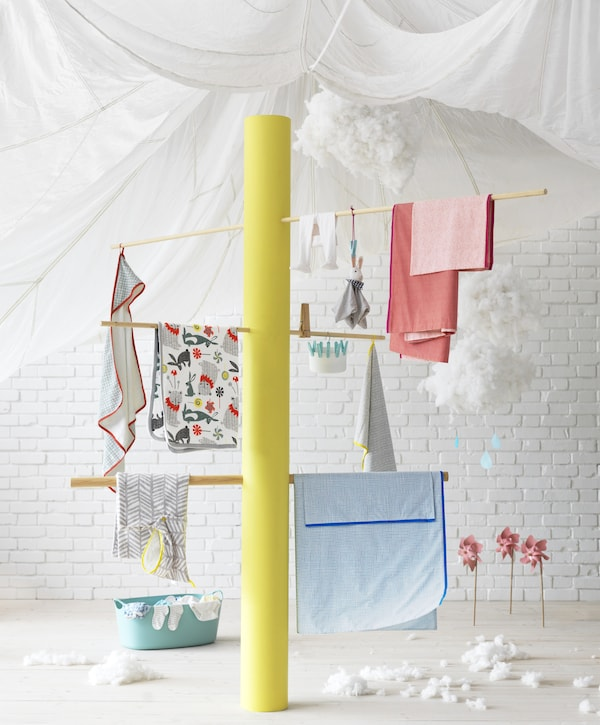 IKEA KLÄMMIG baby textile collection is made with cotton from more sustainable sources and no harmful dyes.