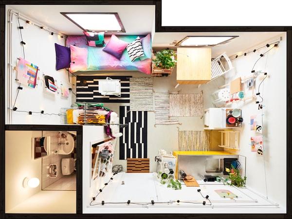 家具齐全的小公寓(鸟瞰图)。