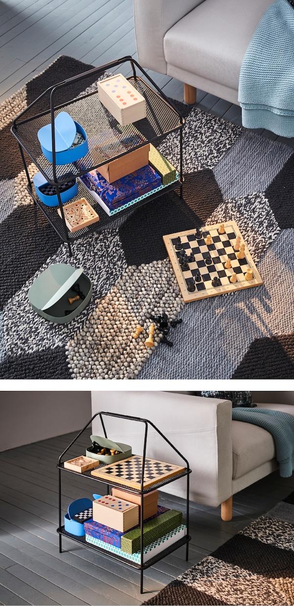 假期对家里的内饰有些新想法吗?不妨使用宜家 YPPERLIG 伊波利 杂志架打造一个游戏台面!它很轻便,且方便移动。是存放棋盘游戏物件的理想之选。而且只需用湿布擦拭即可。