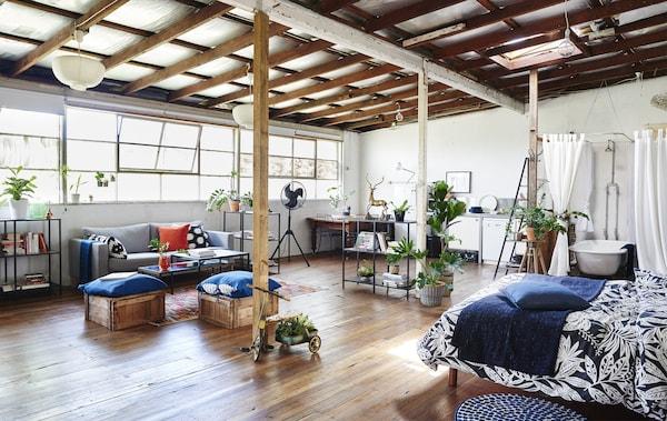 宽敞的开放式居住空间里摆放着床、淋浴设施和沙发。