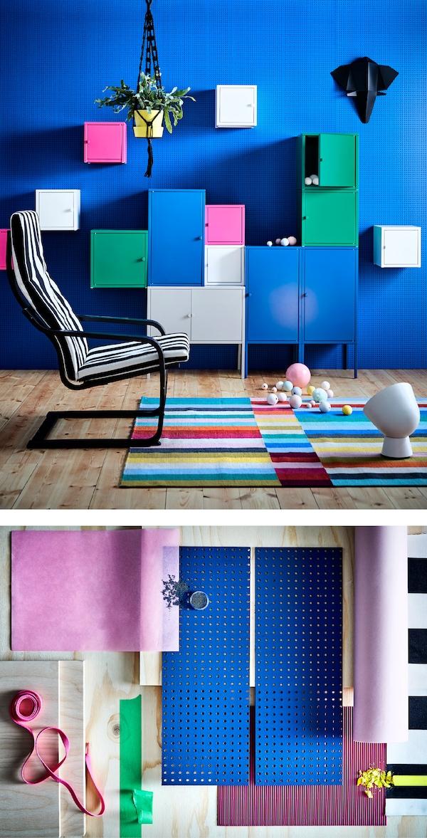 利用现代家具,让撞色效果更加出彩。多种形状和尺寸混搭。