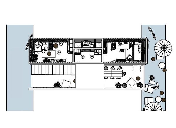 两个集装箱房屋的平面图。