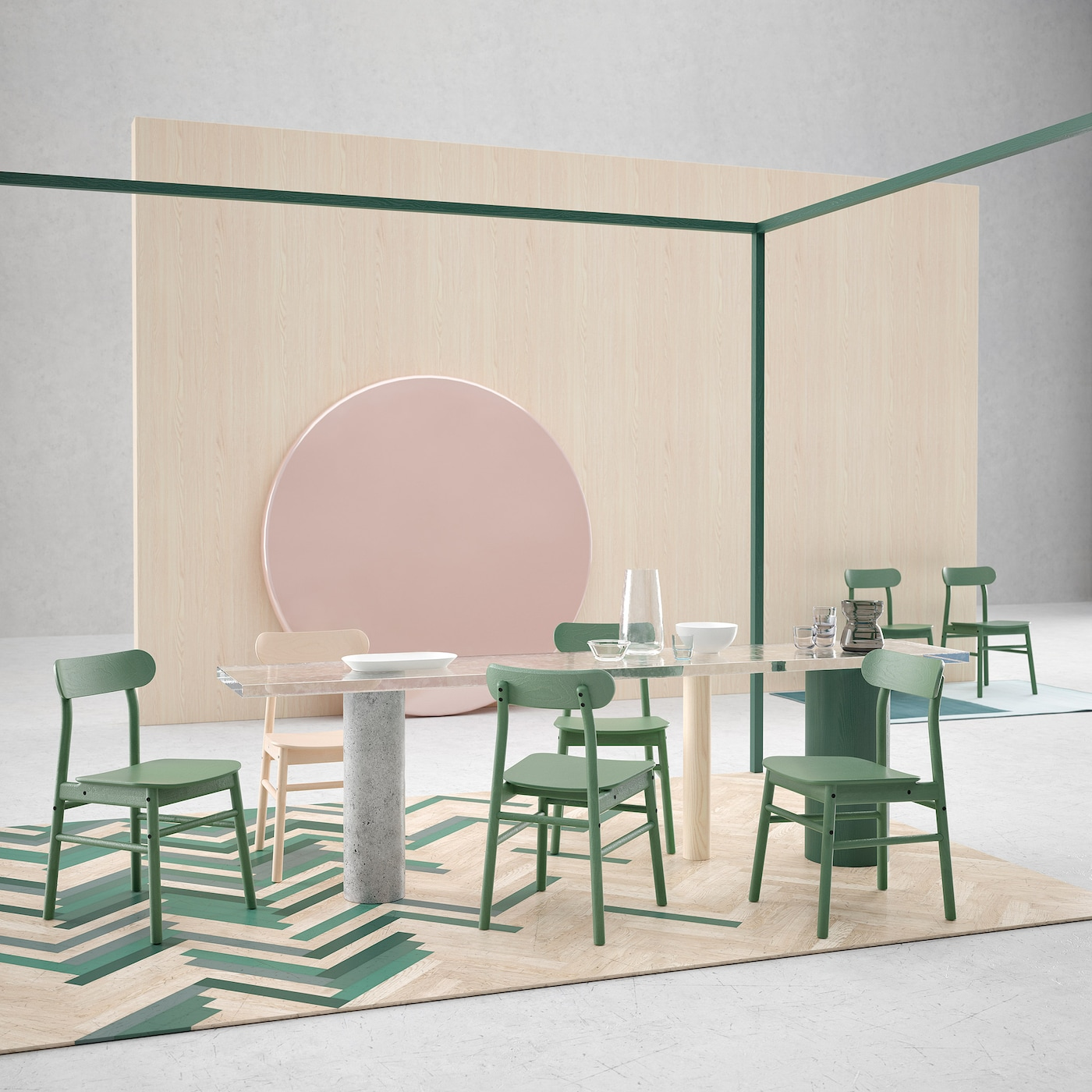 Linger longer at the dining table in a sturdy RÖNNINGE chair from IKEA. It has timeless Scandinavian design made in birch with a rounded-shaped seat and angled back. It's shown with and without a green tint.