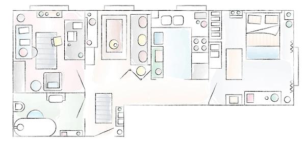 Litao和Tianye的公寓平面图。
