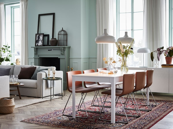 Live in luxury, but at an affordable price. IKEA EKEDALEN white extendable table and BERNHARD brown leather seats make a modern dining combination.