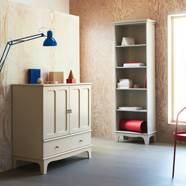 LOMMARP cabinet and bookcase in beige with crafted details for traditional-looking storage for an elegant look.