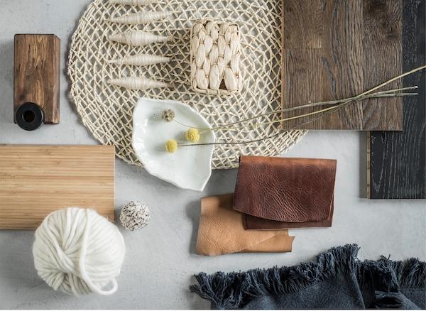 试试自然色调的基础装饰品和具有手工质感的物品。