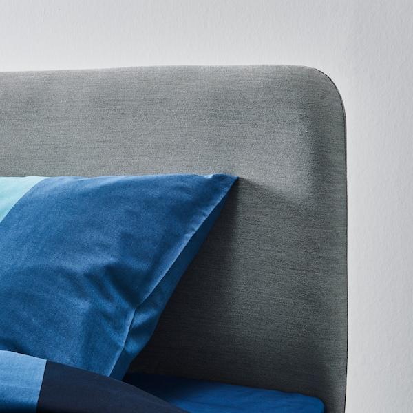 SLATTUM 斯拉图 灰色带软垫床床头板细节图。