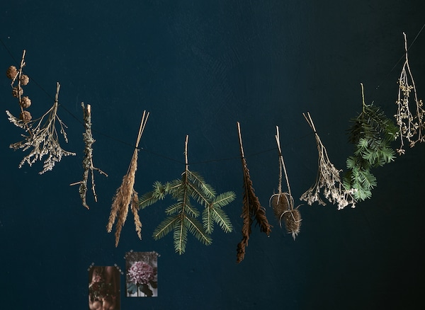Small bundles of dried foliage hanging in a garland against a dark background.