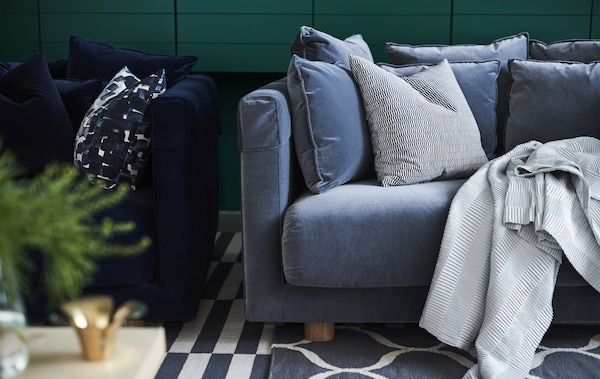Taking time to sit back and relax is one of life's simple pleasures. That's why IKEA makes soft, cosy sofas. Pimp your favourite, such as STOCKHOLM 2017 in blue plush, with matching accessories, then sink down and unwind.