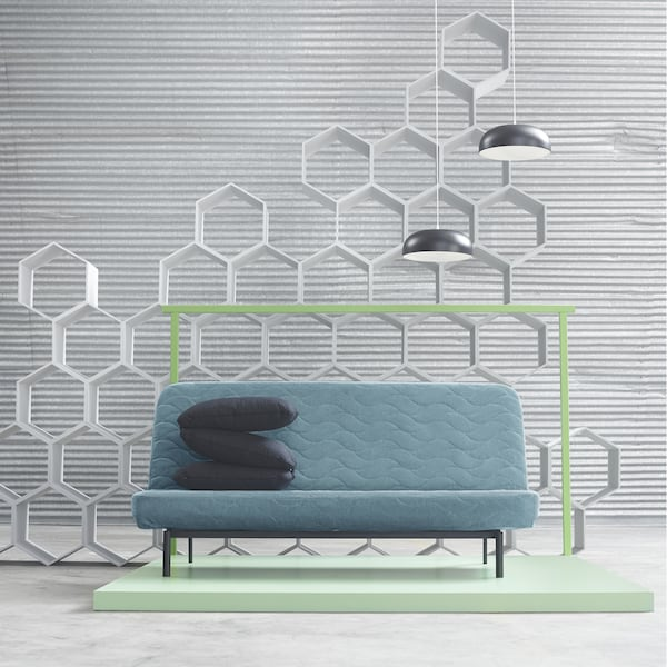 The IKEA NYHAMN sofa-bed is available in green-blue, light beige, grey-beige or grey-black covers and has a choice of pocket spring mattress or foam mattress. The sofa has a click-clack mechanism that easily converts it into a bed.