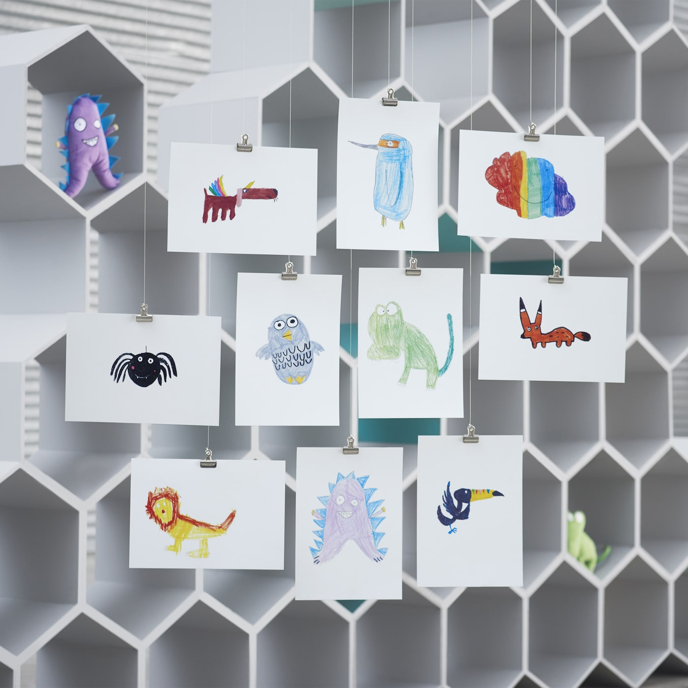 The IKEA SAGOSKATT soft toys are all about kids designing for other kids: it's a collection of imaginative cuddly creatures, all winning ideas from our annual kids' drawing competition. There's an egg-shaped owl, a toucan with a rainbow beak and more!