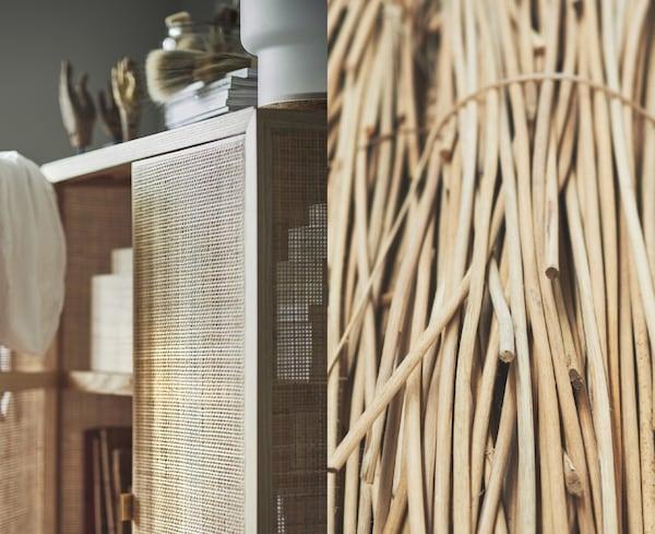 天然纤维是一种天然的可再生材料,具有独特的性质。我们与全球技艺精湛的工匠合作,创造出高品质的产品,比如 STOCKHOLM 斯德哥尔摩 2017 藤条储物柜。