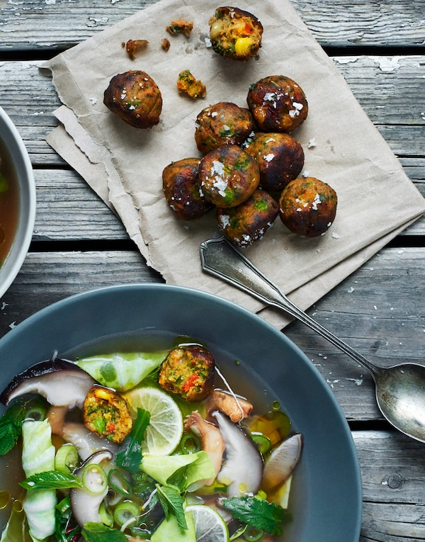 Try our plant-based veggie balls, they are a more sustainable option to our iconic meatballs.