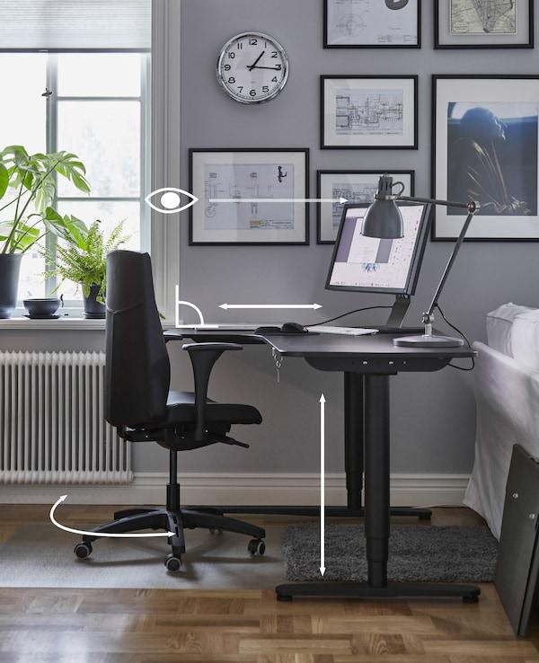 图片:显示在办公桌前工作时正确的办公桌高度和身体姿势。